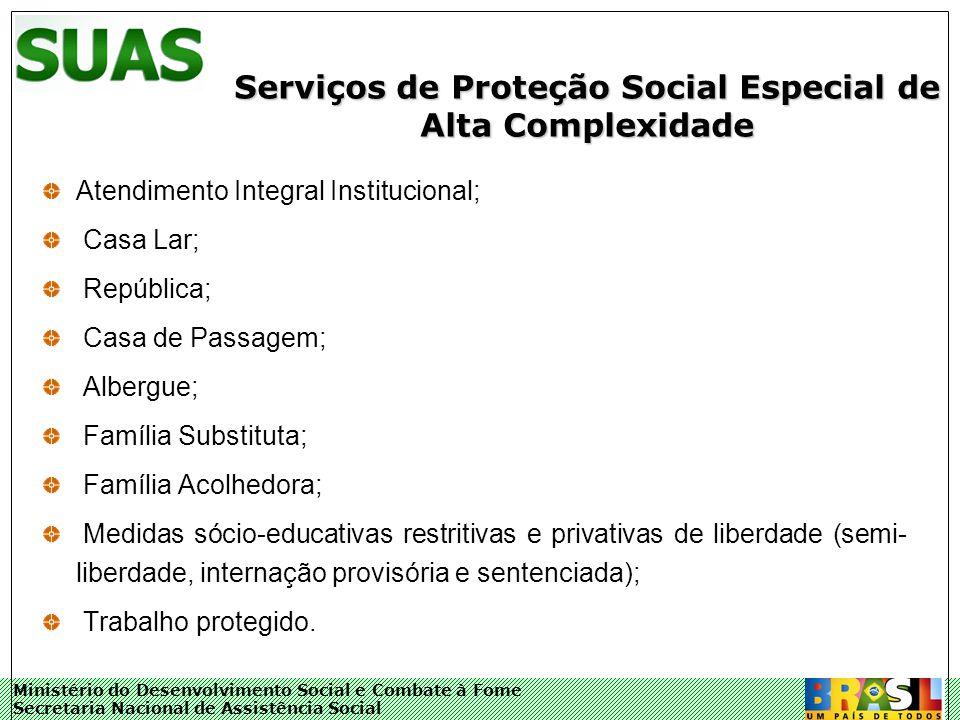 Ministério do Desenvolvimento Social e Combate à Fome Secretaria Nacional de Assistência Social Serviços de Proteção Social Especial de Alta Complexid
