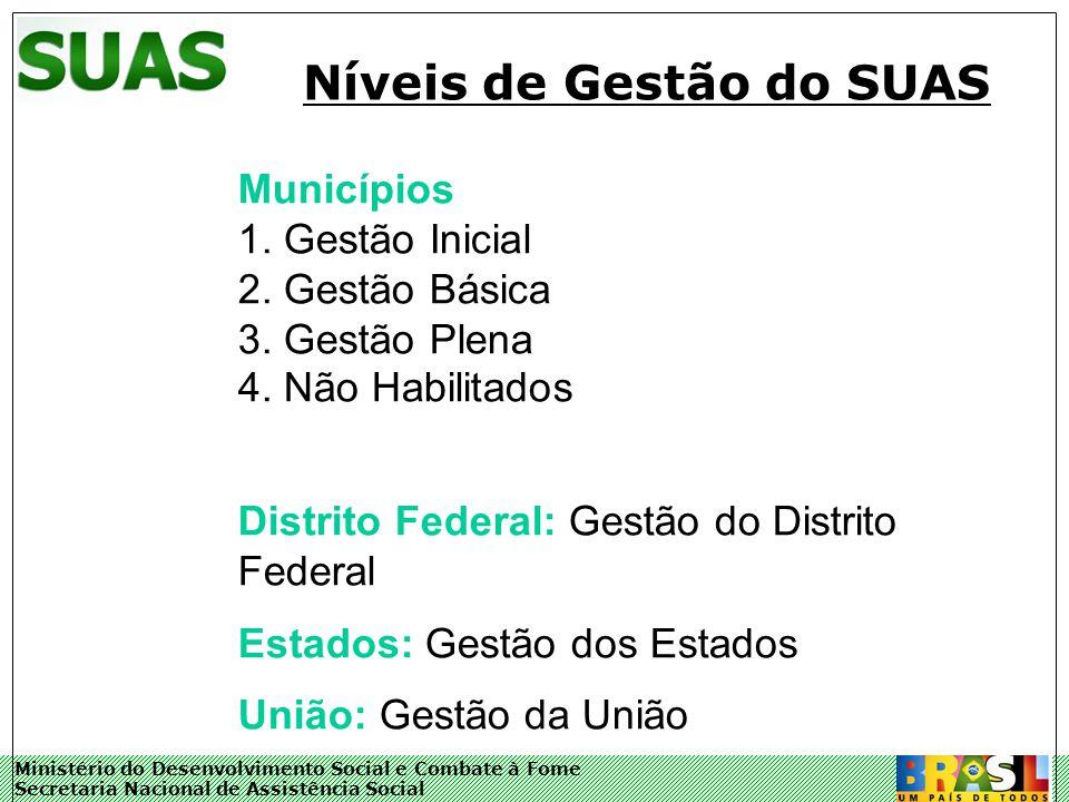 Ministério do Desenvolvimento Social e Combate à Fome Secretaria Nacional de Assistência Social Níveis de Gestão do SUAS Municípios 1.