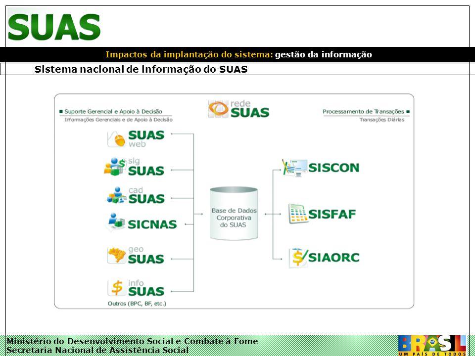 Ministério do Desenvolvimento Social e Combate à Fome Secretaria Nacional de Assistência Social Sistema nacional de informação do SUAS Impactos da imp