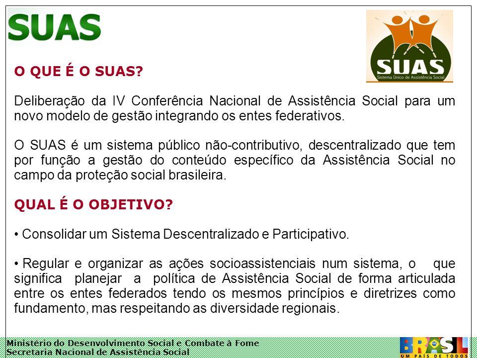 Ministério do Desenvolvimento Social e Combate à Fome Secretaria Nacional de Assistência Social O QUE É O SUAS.