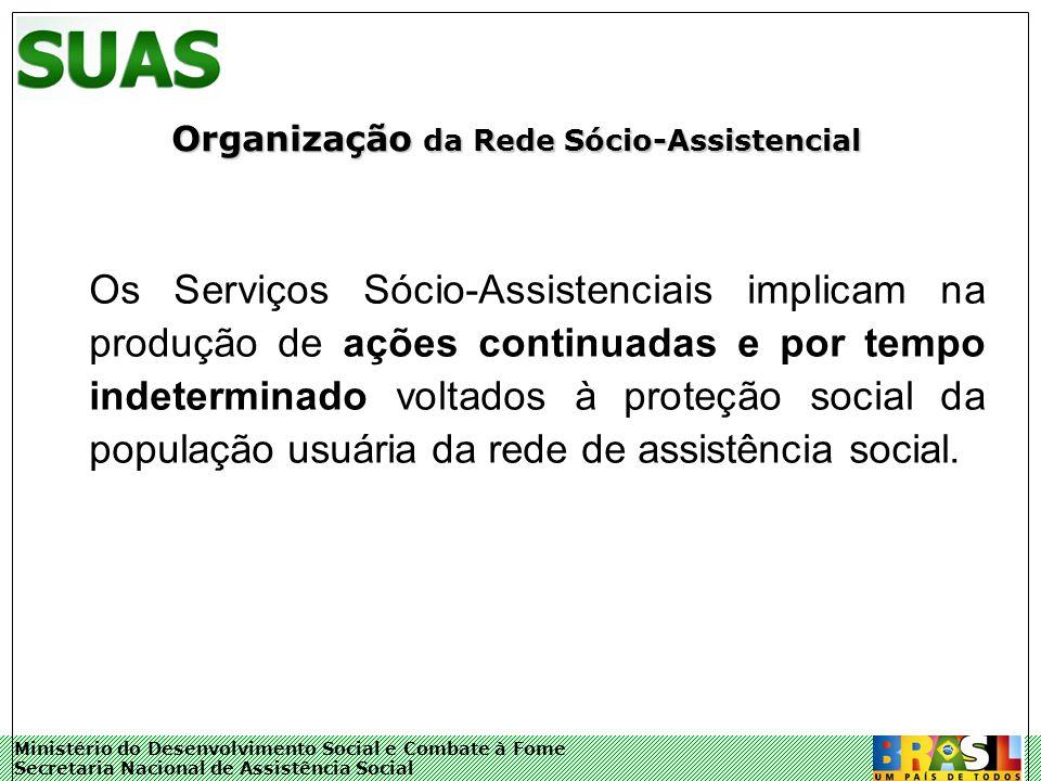 Ministério do Desenvolvimento Social e Combate à Fome Secretaria Nacional de Assistência Social Organização da Rede Sócio-Assistencial Os Serviços Sóc