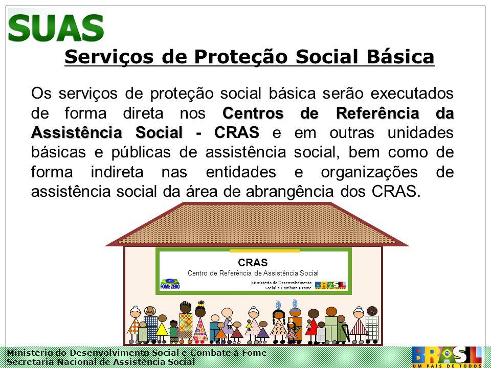 Ministério do Desenvolvimento Social e Combate à Fome Secretaria Nacional de Assistência Social A Proteção Social Básica inclui a oferta de: Programa de Atenção Integral à Família – PAIF; Programa de inclusão produtiva e projetos de enfrentamento à pobreza; Centros de Convivência para Idosos; Serviços para crianças de 0 a 6 anos, que visem o fortalecimento dos vínculos familiares, o direito de brincar, ações de socialização e de sensibilização para a defesa dos direitos das crianças; Serviços sócio-educativos para crianças, adolescentes e jovens de 6 a 24 anos, visando sua proteção, socialização e o fortalecimento dos vínculos familiares e comunitários; Centros de informação e de educação para o trabalho, voltados para jovens e adultos.