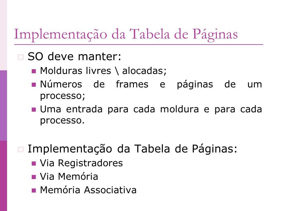 Implementação da Tabela de Páginas SO deve manter: Molduras livres \ alocadas; Números de frames e páginas de um processo; Uma entrada para cada moldu