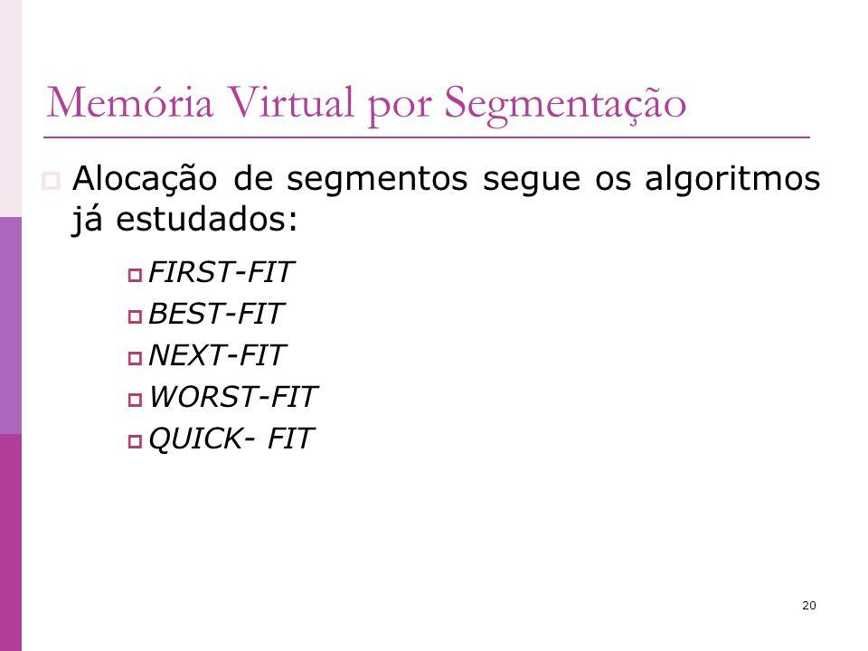 20 Alocação de segmentos segue os algoritmos já estudados: FIRST-FIT BEST-FIT NEXT-FIT WORST-FIT QUICK- FIT Memória Virtual por Segmentação