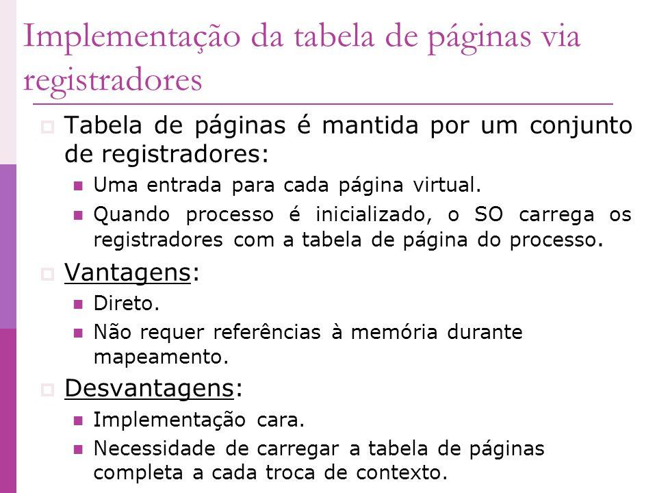 Implementação da tabela de páginas via registradores Tabela de páginas é mantida por um conjunto de registradores: Uma entrada para cada página virtua