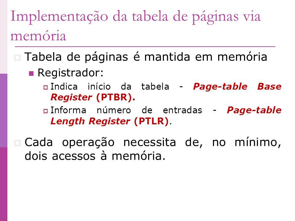 Tabela de páginas é mantida em memória Registrador: Indica início da tabela - Page-table Base Register (PTBR). Informa número de entradas - Page-table