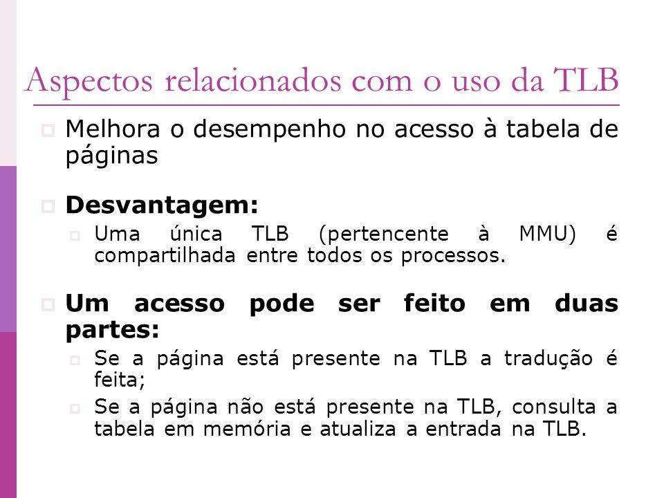 Aspectos relacionados com o uso da TLB Melhora o desempenho no acesso à tabela de páginas Desvantagem: Uma única TLB (pertencente à MMU) é compartilha