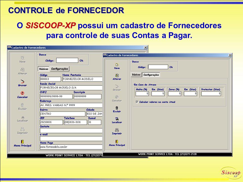 CONTROLE de CLIENTE SISCOOP-XP O SISCOOP-XP possui um cadastro completo para controle dos clientes da Cooperativa/Associação, incluindo dados do contr