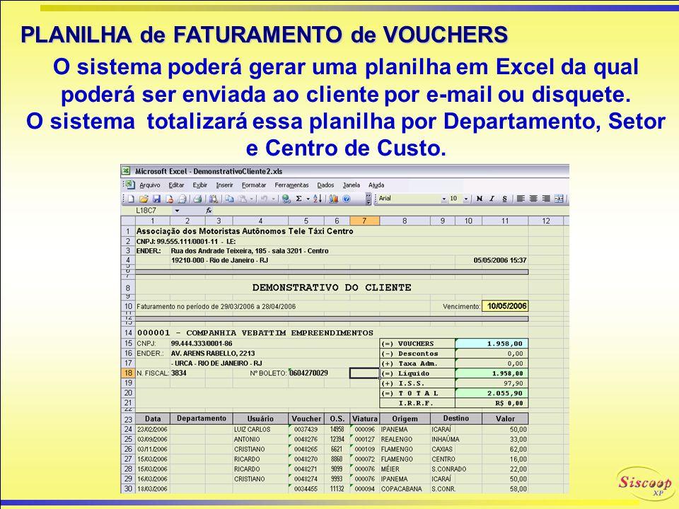 FATURAMENTO de VOUCHERS SISCOOP-XP O SISCOOP-XP possui um módulo que efetua o faturamento de vouchers para os clientes dentro de uma referência, exibi