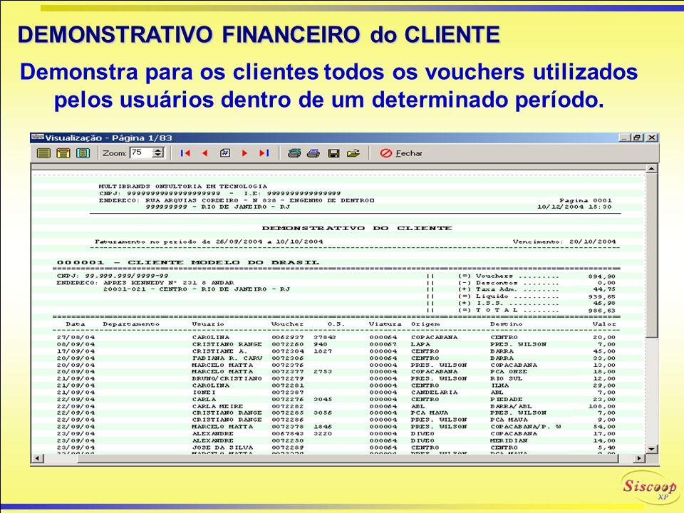 CONTROLE de PRODUÇÃO SISCOOP-XP O Controle de Produção do SISCOOP-XP executa uma apuração de todos os vouchers que o associado tem a receber, desde qu