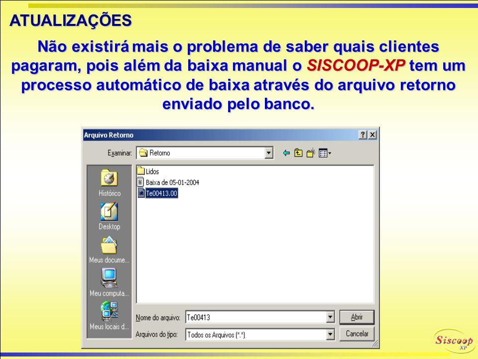 VOUCHERS OS VOUCHERS O SISCOOP-XPpermite o lançamento dos Vouchers de cada associado totalizando por cliente, disponibilizando os valores para cobranç