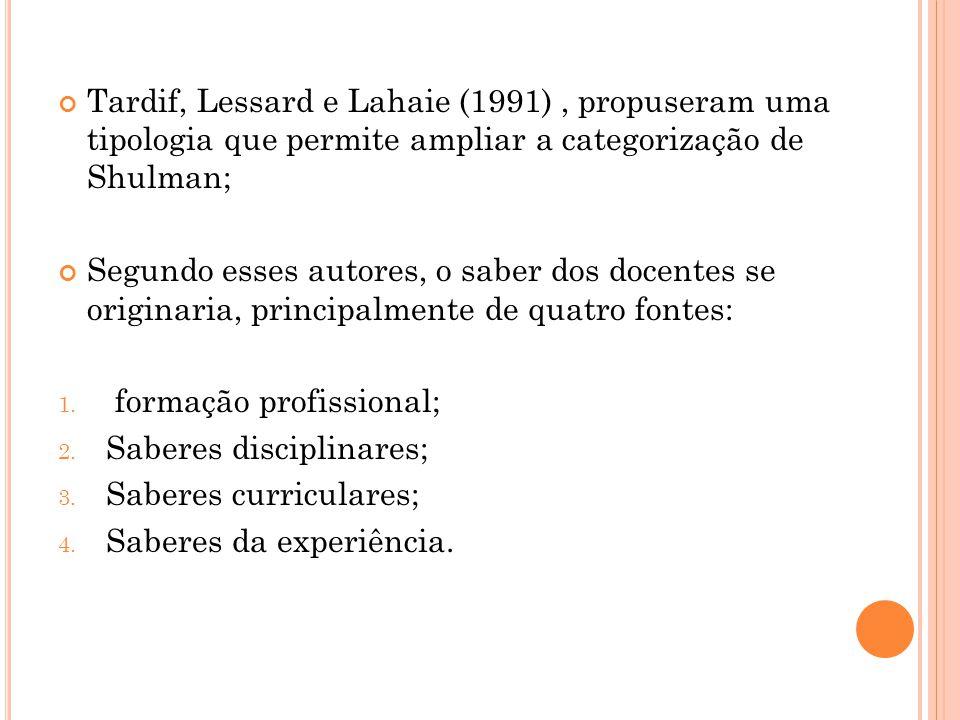 Tardif, Lessard e Lahaie (1991), propuseram uma tipologia que permite ampliar a categorização de Shulman; Segundo esses autores, o saber dos docentes