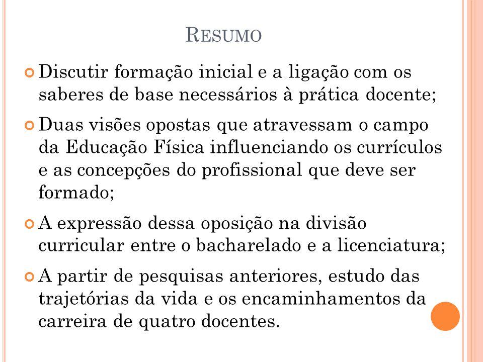 I NTRODUÇÃO Discussão sobre a formação inicial dos educadores físicos no Brasil em relação à natureza dos saberes que servem de base no exercício de seu trabalho.