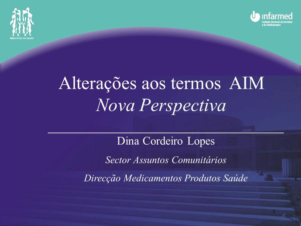 1 Alterações aos termos AIM Nova Perspectiva _______________________________________________ Dina Cordeiro Lopes Sector Assuntos Comunitários Direcção Medicamentos Produtos Saúde