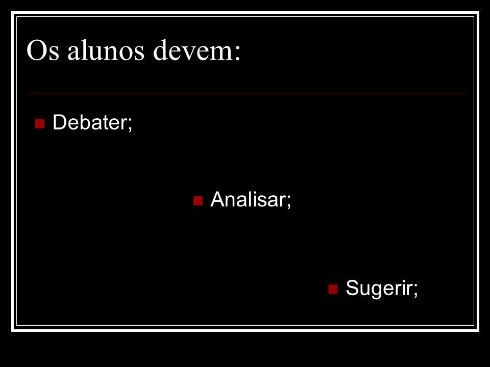 Debater; Os alunos devem: Analisar; Sugerir;