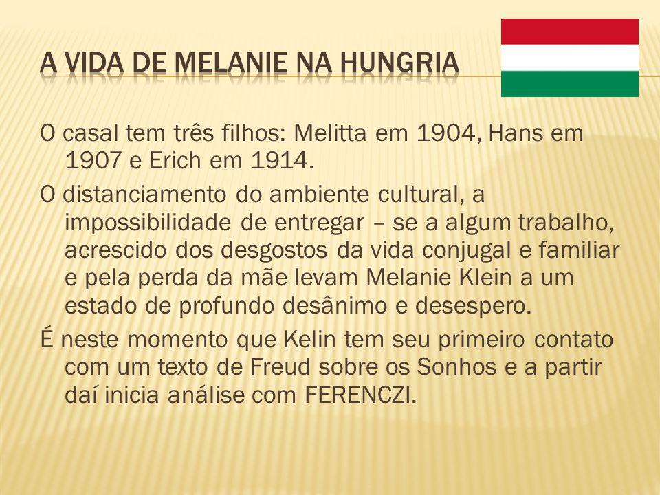 O casal tem três filhos: Melitta em 1904, Hans em 1907 e Erich em 1914. O distanciamento do ambiente cultural, a impossibilidade de entregar – se a al