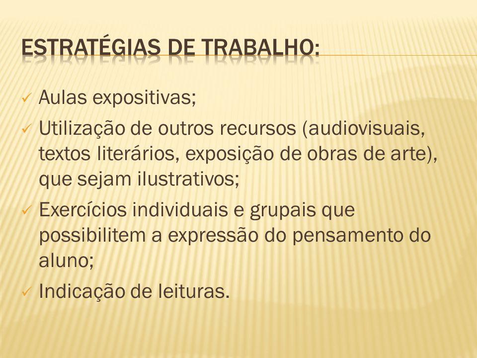 Aulas expositivas; Utilização de outros recursos (audiovisuais, textos literários, exposição de obras de arte), que sejam ilustrativos; Exercícios ind