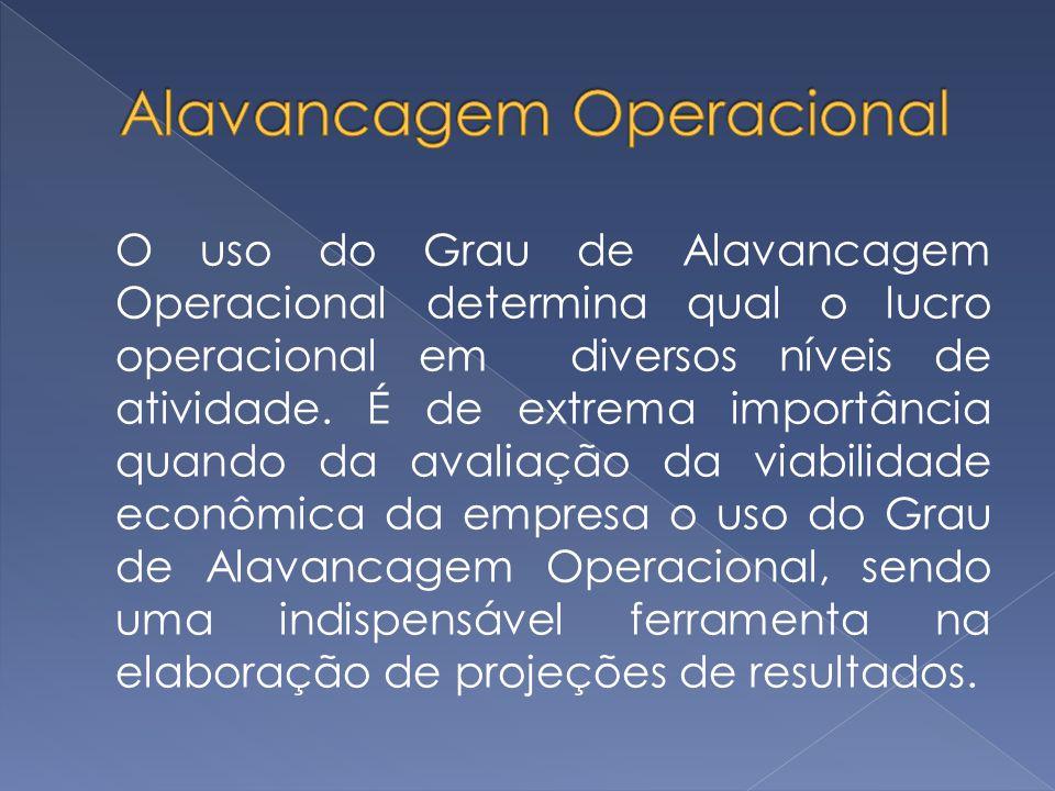 O uso do Grau de Alavancagem Operacional determina qual o lucro operacional em diversos níveis de atividade. É de extrema importância quando da avalia