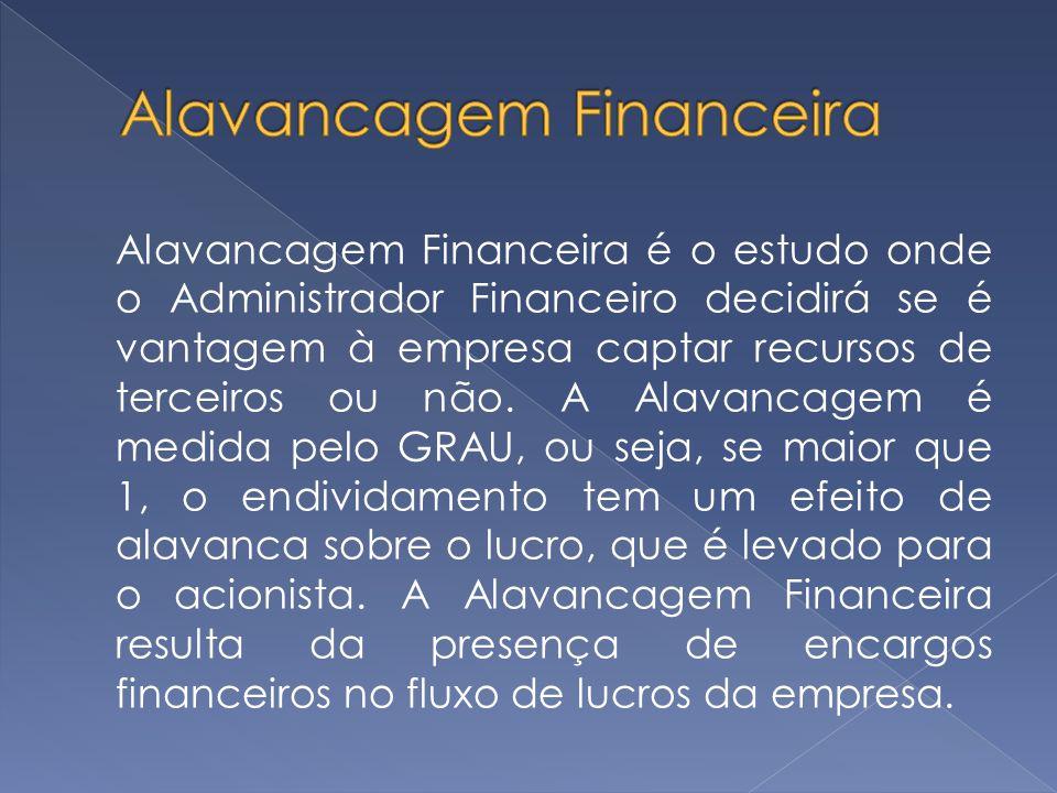 Alavancagem Financeira é o estudo onde o Administrador Financeiro decidirá se é vantagem à empresa captar recursos de terceiros ou não. A Alavancagem