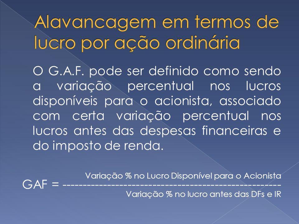 O G.A.F. pode ser definido como sendo a variação percentual nos lucros disponíveis para o acionista, associado com certa variação percentual nos lucro