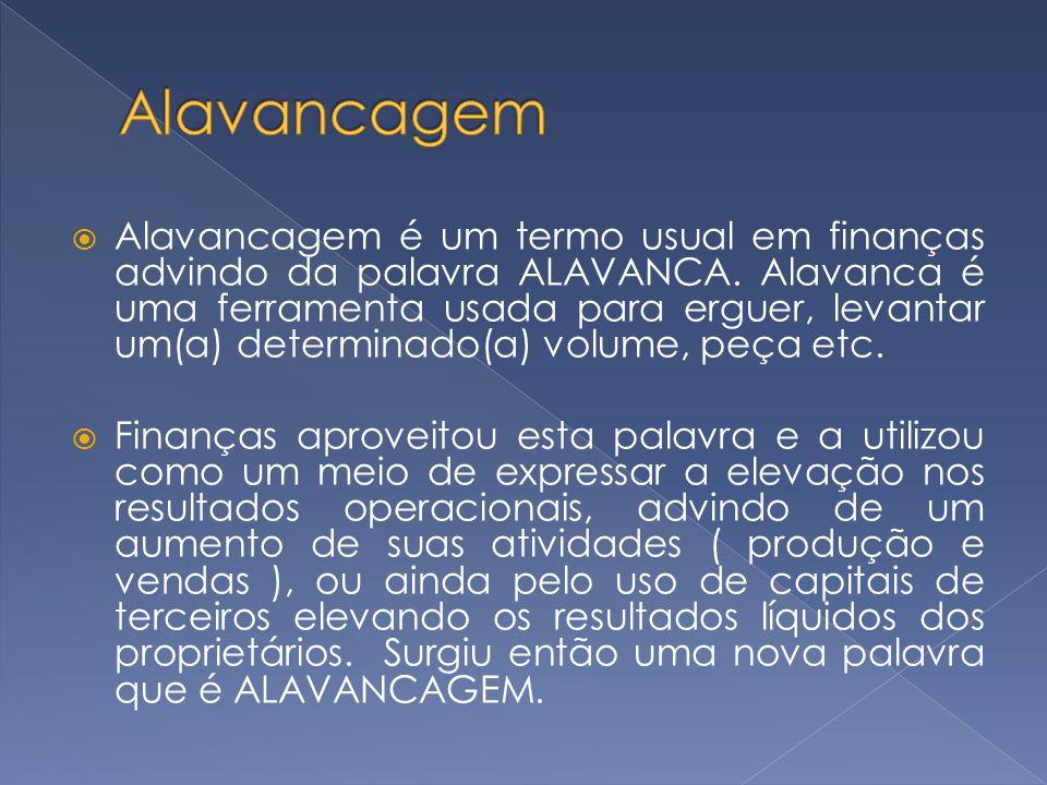 Alavancagem é um termo usual em finanças advindo da palavra ALAVANCA. Alavanca é uma ferramenta usada para erguer, levantar um(a) determinado(a) volum