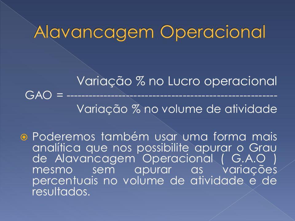 Variação % no Lucro operacional GAO = -------------------------------------------------------- Variação % no volume de atividade Poderemos também usar