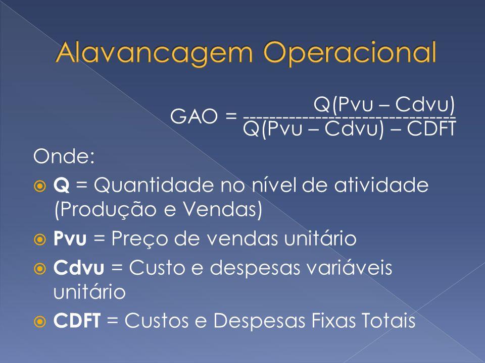 Q(Pvu – Cdvu) GAO = -------------------------------- Q(Pvu – Cdvu) – CDFT Onde: Q = Quantidade no nível de atividade (Produção e Vendas) Pvu = Preço d