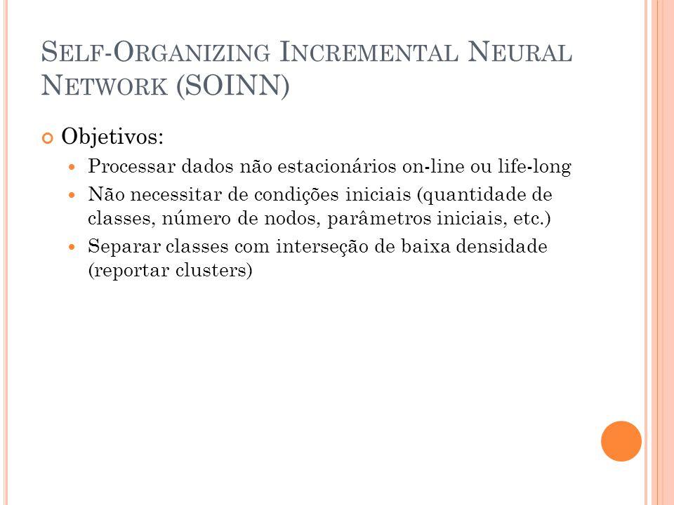 S ELF -O RGANIZING I NCREMENTAL N EURAL N ETWORK (SOINN) Objetivos: Processar dados não estacionários on-line ou life-long Não necessitar de condições