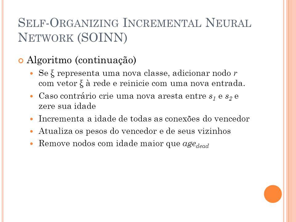 S ELF -O RGANIZING I NCREMENTAL N EURAL N ETWORK (SOINN) Algoritmo (continuação) Se ξ representa uma nova classe, adicionar nodo r com vetor ξ à rede e reinicie com uma nova entrada.