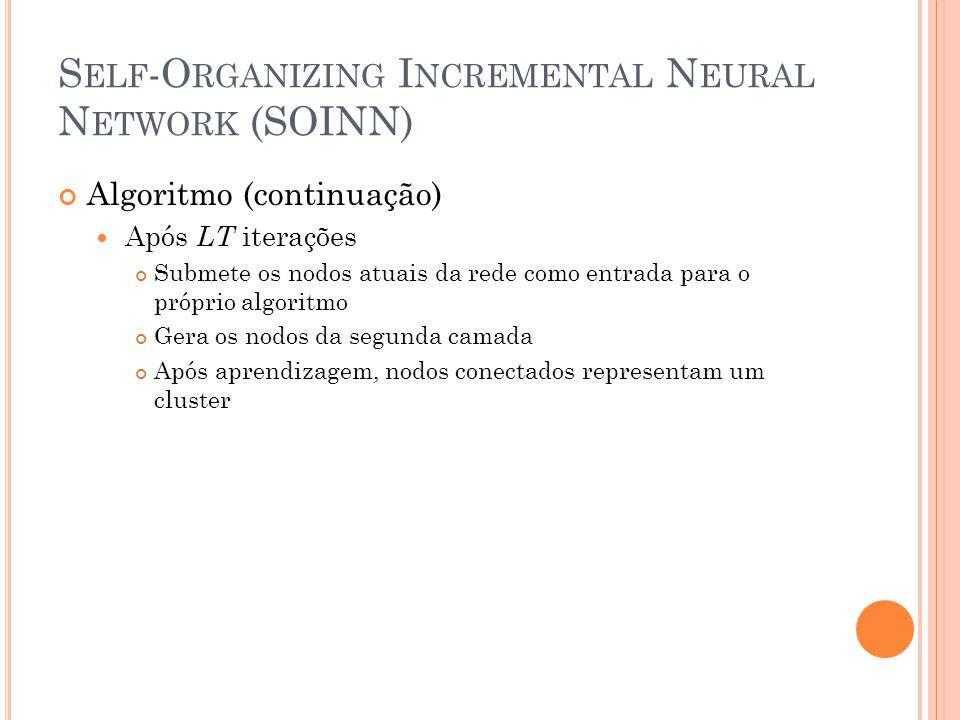 S ELF -O RGANIZING I NCREMENTAL N EURAL N ETWORK (SOINN) Algoritmo (continuação) Após LT iterações Submete os nodos atuais da rede como entrada para o