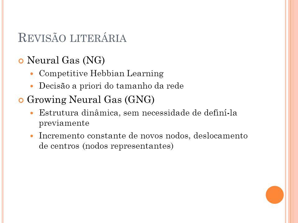 R EVISÃO LITERÁRIA Neural Gas (NG) Competitive Hebbian Learning Decisão a priori do tamanho da rede Growing Neural Gas (GNG) Estrutura dinâmica, sem necessidade de definí-la previamente Incremento constante de novos nodos, deslocamento de centros (nodos representantes)
