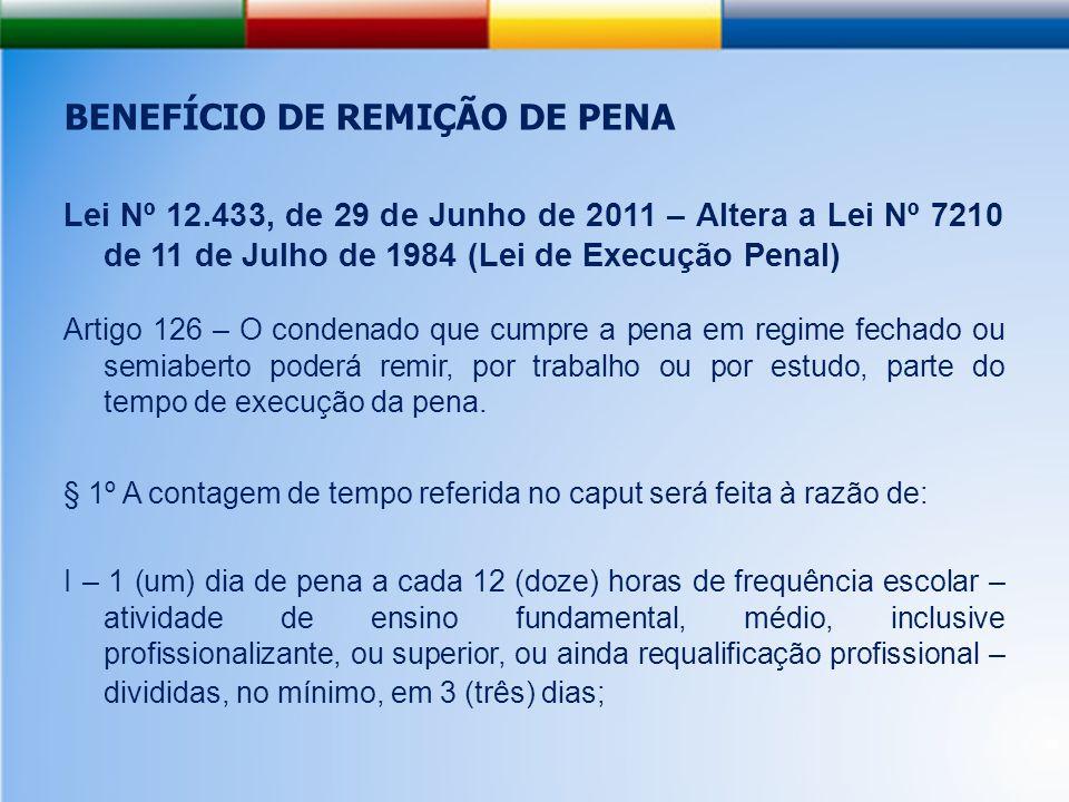 BENEFÍCIO DE REMIÇÃO DE PENA Lei Nº 12.433, de 29 de Junho de 2011 – Altera a Lei Nº 7210 de 11 de Julho de 1984 (Lei de Execução Penal) Artigo 126 – O condenado que cumpre a pena em regime fechado ou semiaberto poderá remir, por trabalho ou por estudo, parte do tempo de execução da pena.