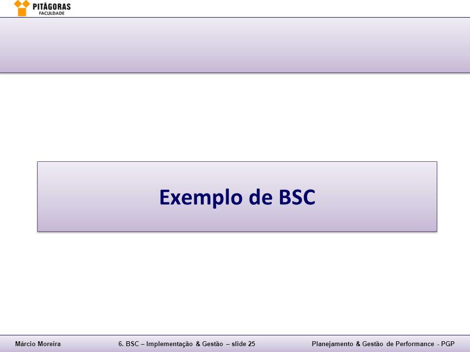 Márcio Moreira6. BSC – Implementação & Gestão – slide 25Planejamento & Gestão de Performance - PGP Exemplo de BSC