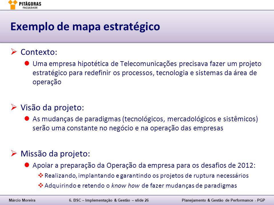 Márcio Moreira6. BSC – Implementação & Gestão – slide 26Planejamento & Gestão de Performance - PGP Exemplo de mapa estratégico Contexto: Uma empresa h