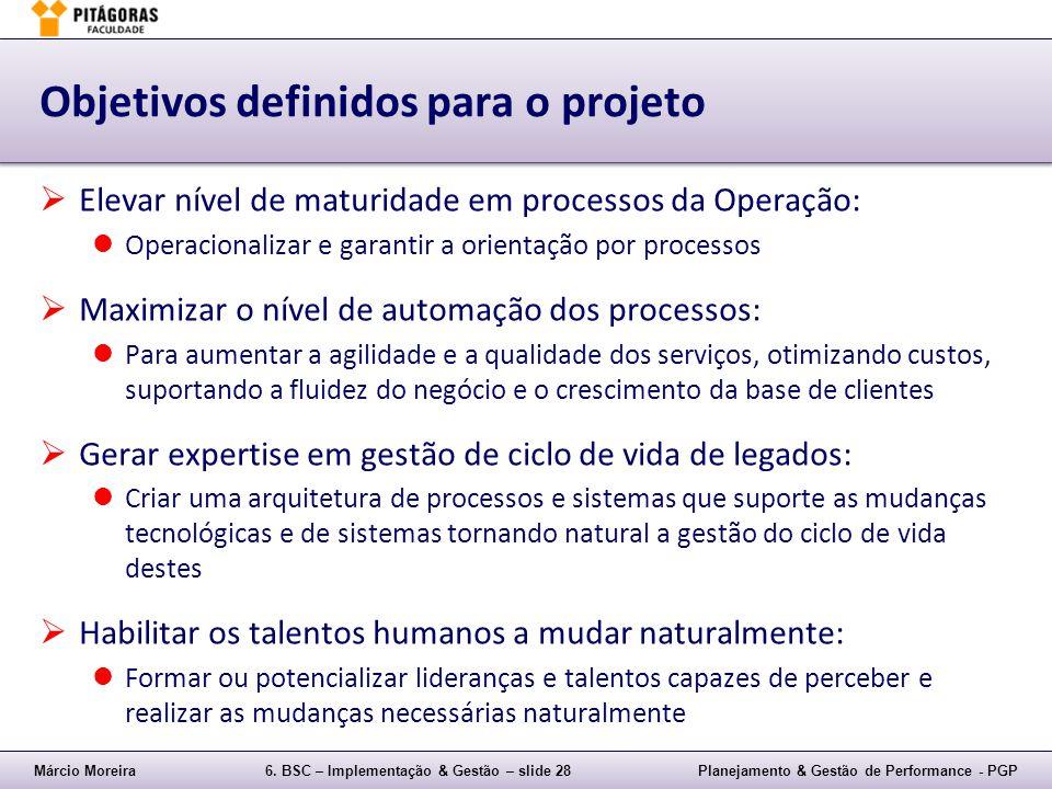 Márcio Moreira6. BSC – Implementação & Gestão – slide 28Planejamento & Gestão de Performance - PGP Objetivos definidos para o projeto Elevar nível de