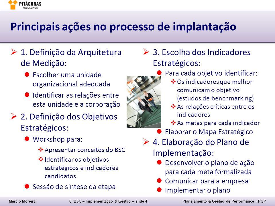Márcio Moreira6. BSC – Implementação & Gestão – slide 4Planejamento & Gestão de Performance - PGP Principais ações no processo de implantação 1. Defin