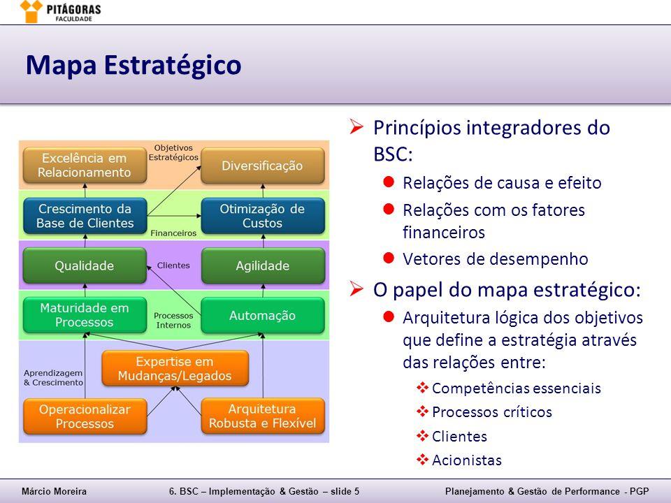Márcio Moreira6. BSC – Implementação & Gestão – slide 5Planejamento & Gestão de Performance - PGP Mapa Estratégico Princípios integradores do BSC: Rel
