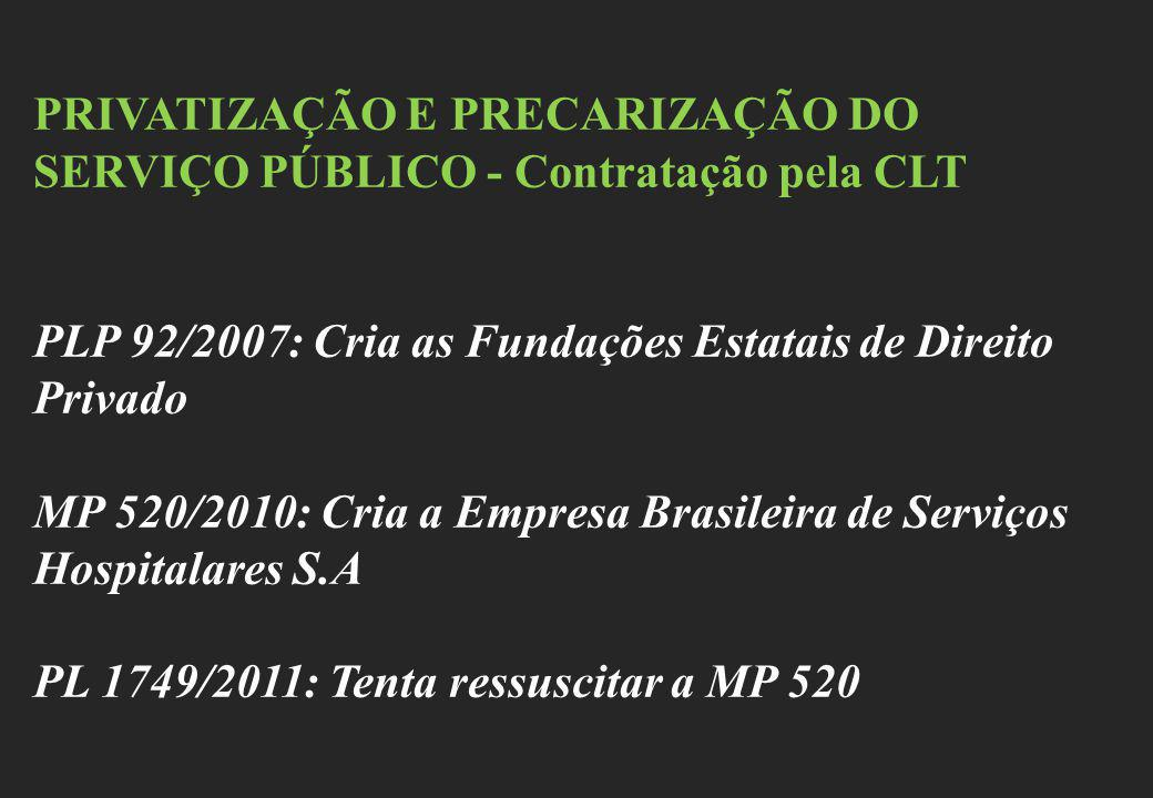 PRIVATIZAÇÃO E PRECARIZAÇÃO DO SERVIÇO PÚBLICO - Contratação pela CLT PLP 92/2007: Cria as Fundações Estatais de Direito Privado MP 520/2010: Cria a E