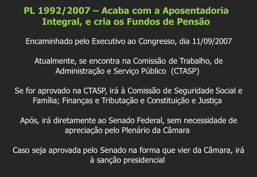 PL 1992/2007 – Acaba com a Aposentadoria Integral, e cria os Fundos de Pensão Encaminhado pelo Executivo ao Congresso, dia 11/09/2007 Atualmente, se e