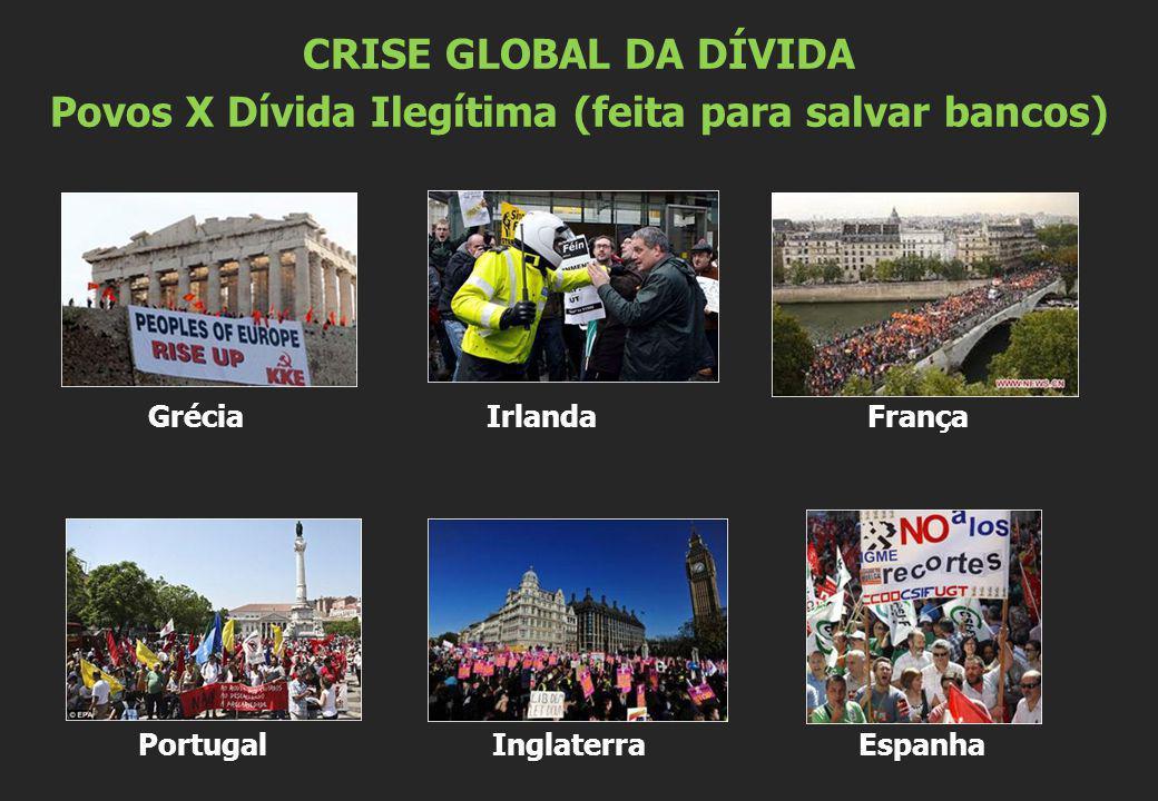 Grécia Irlanda França Portugal Inglaterra Espanha CRISE GLOBAL DA DÍVIDA Povos X Dívida Ilegítima (feita para salvar bancos)