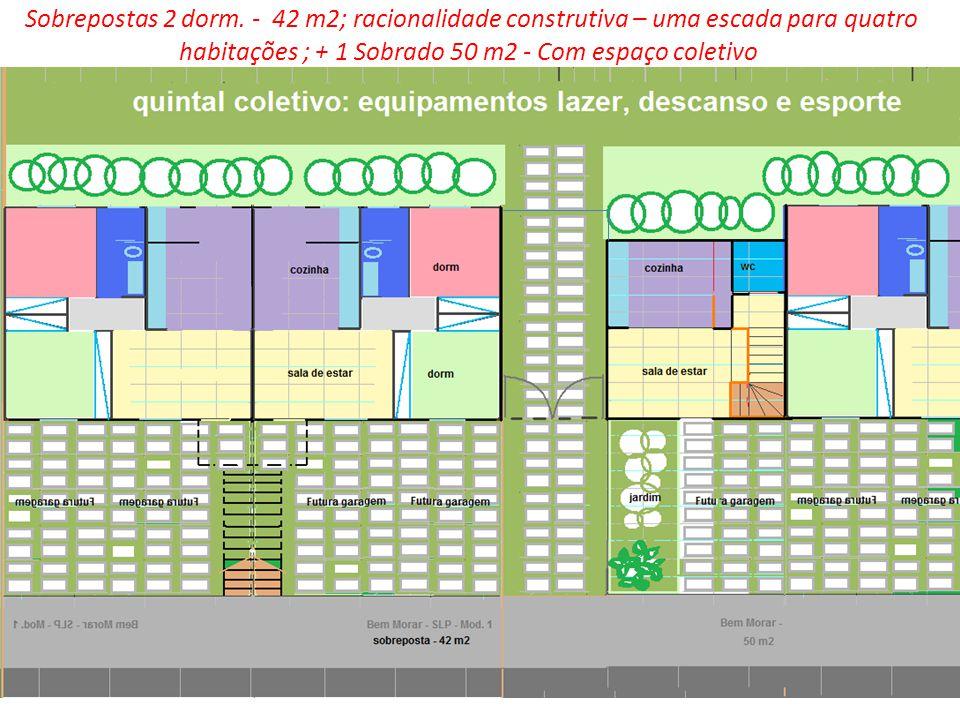 Sobrepostas 2 dorm. - 42 m2; racionalidade construtiva – uma escada para quatro habitações ; + 1 Sobrado 50 m2 - Com espaço coletivo