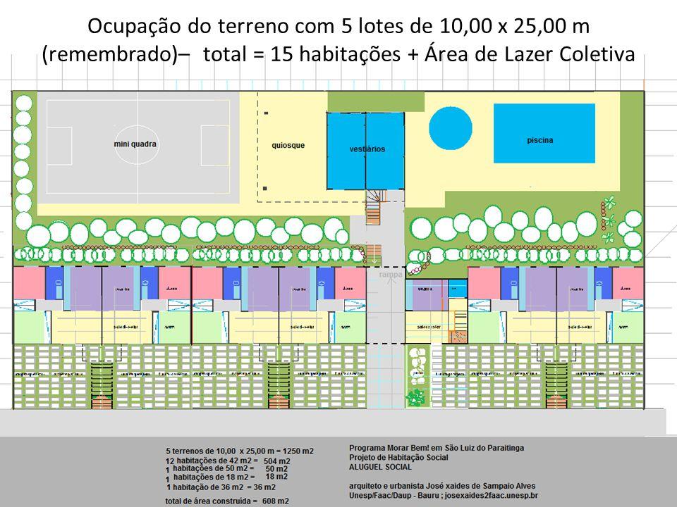 Ocupação do terreno com 5 lotes de 10,00 x 25,00 m (remembrado)– total = 15 habitações + Área de Lazer Coletiva