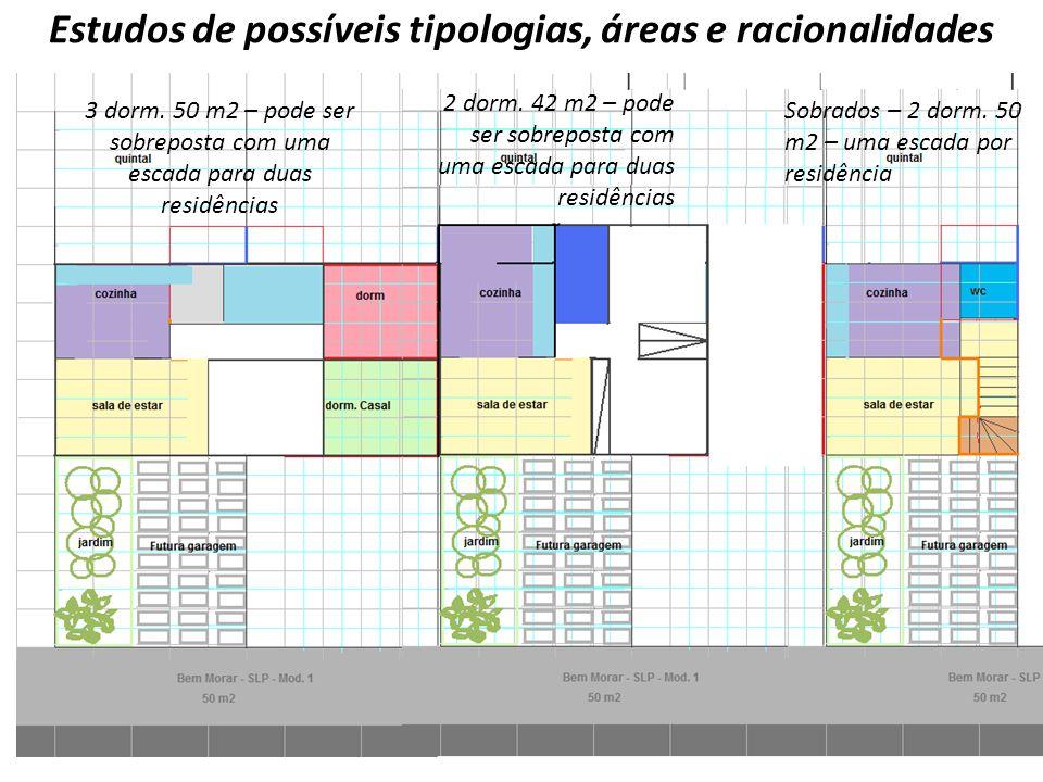 Estudos de possíveis tipologias, áreas e racionalidades 3 dorm. 50 m2 – pode ser sobreposta com uma escada para duas residências 2 dorm. 42 m2 – pode