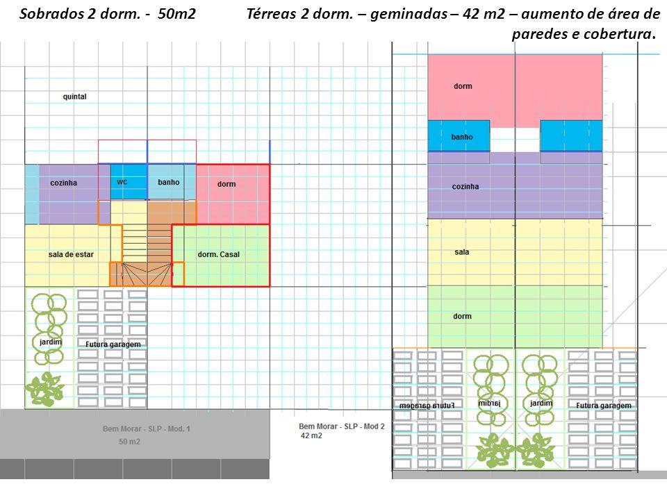 Sobrados 2 dorm. - 50m2 Térreas 2 dorm. – geminadas – 42 m2 – aumento de área de paredes e cobertura.