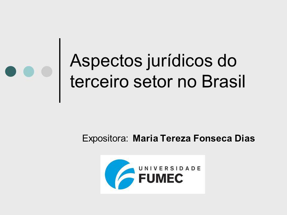 Aspectos jurídicos do terceiro setor no Brasil Expositora: Maria Tereza Fonseca Dias
