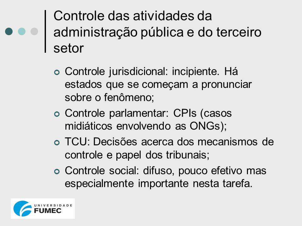 Controle das atividades da administração pública e do terceiro setor Controle jurisdicional: incipiente. Há estados que se começam a pronunciar sobre