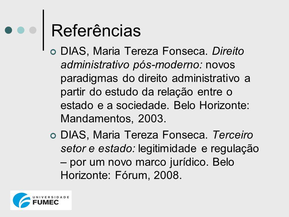 Referências DIAS, Maria Tereza Fonseca. Direito administrativo pós-moderno: novos paradigmas do direito administrativo a partir do estudo da relação e