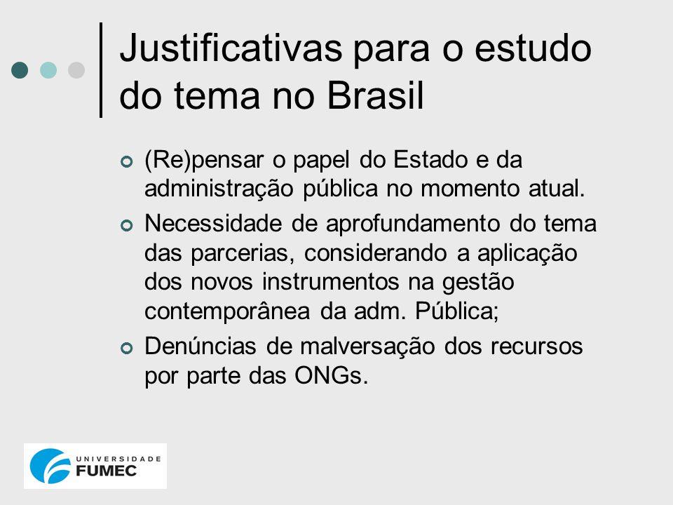 Justificativas para o estudo do tema no Brasil (Re)pensar o papel do Estado e da administração pública no momento atual. Necessidade de aprofundamento