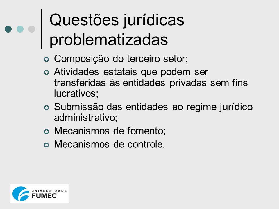 Questões jurídicas problematizadas Composição do terceiro setor; Atividades estatais que podem ser transferidas às entidades privadas sem fins lucrati