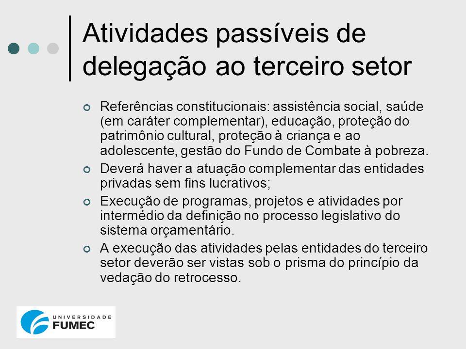 Atividades passíveis de delegação ao terceiro setor Referências constitucionais: assistência social, saúde (em caráter complementar), educação, proteç